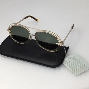 New Karen Walker Jacques Gold Aviator Sunglasses